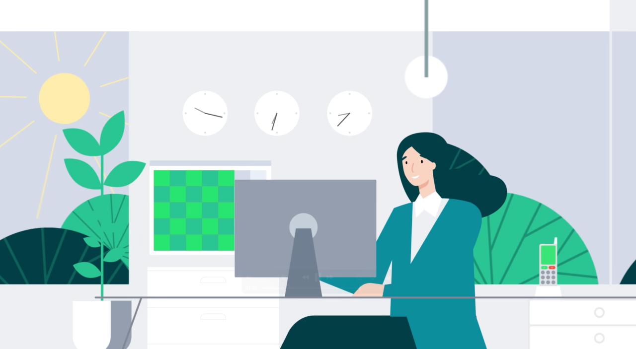 woman working on desktop computer illustration